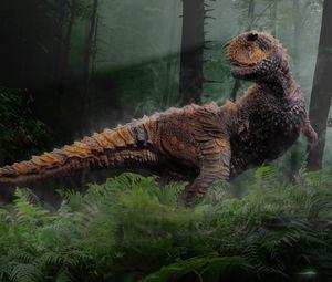 Preview wallpaper dinosaur, grass, trees, reptiles, mesozoic era