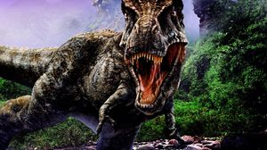 Preview wallpaper dinosaur, jaws, aggression, stones, trees