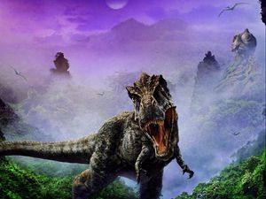 Preview wallpaper dinosaur, jaws, fangs, fog