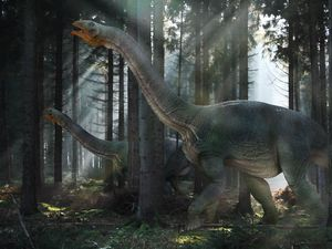 Preview wallpaper dinosaur, mesozoic era, walk, forest