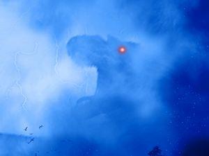 Preview wallpaper dinosaur, monster, silhouette, art, fog, lightning