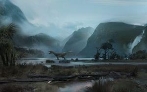Preview wallpaper dinosaur, mountains, art