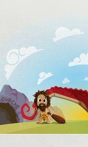 Preview wallpaper dinosaur, prehistoric, cave, mesozoic era