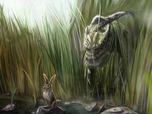 Preview wallpaper dinosaur, rabbit, grass, art, stones