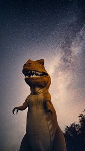 Preview wallpaper dinosaur, starry sky, night, space