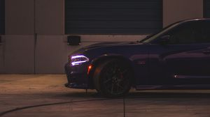 Preview wallpaper dodge charger, side view, headlight, purple