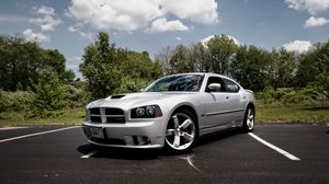 Preview wallpaper dodge charger srt8, supercar, cult car, silver, tuning, functional hood