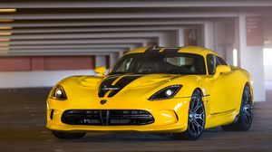 Preview wallpaper dodge, viper, srt, gts, yellow, front view, parking