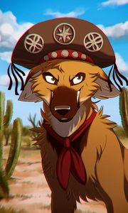 Preview wallpaper dog, pirate, art, hat, tie