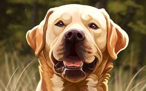 Preview wallpaper dog, protruding tongue, art, glance, pet