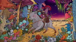 Preview wallpaper dog, rider, mushrooms, warrior, colorful, art
