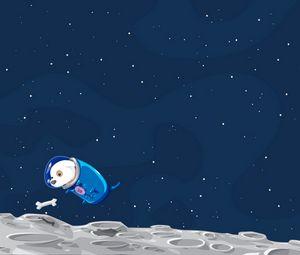 Preview wallpaper dog, space, flight, sky, bone, suit