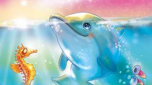 Preview wallpaper dolphin, sea, underwater, moon, art