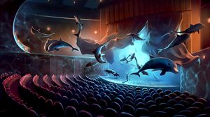 Preview wallpaper dolphins, concert, surrealism, musician