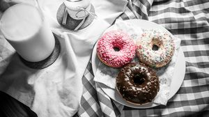 Preview wallpaper donuts, milk, icing, tablecloth