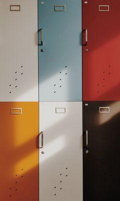 240x400 Wallpaper doors, lockers, retro, multicolored