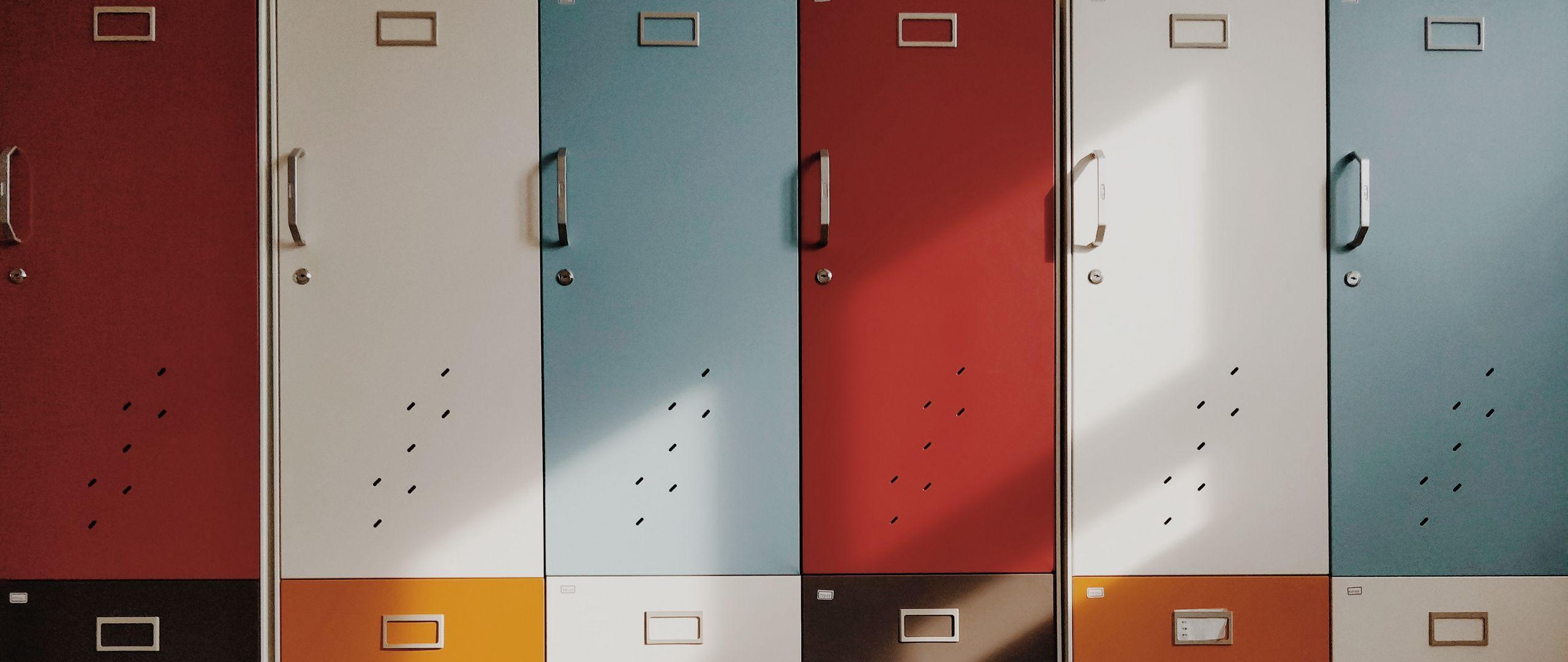 2560x1080 Wallpaper doors, lockers, retro, multicolored
