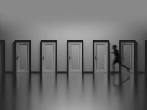 Preview wallpaper doors, silhouette, running, bw, speed, minimalism