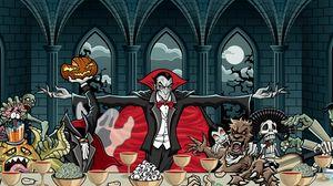 Preview wallpaper dracula, vampire, art, feast, pumpkin, halloween