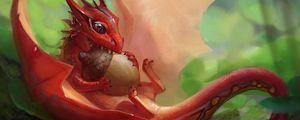 Preview wallpaper dragon, acorn, art, fantastic, food