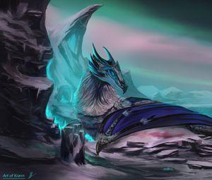 Preview wallpaper dragon, animal, rocks, fantasy, art