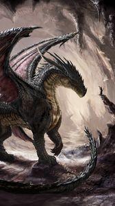 Preview wallpaper dragon, cave, light, art