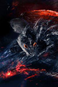 Preview wallpaper dragon, dinosaur, fiery, creature, art