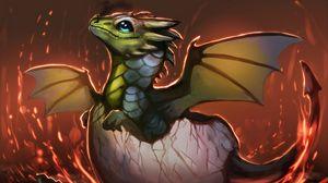 Preview wallpaper dragon, egg, shell, art