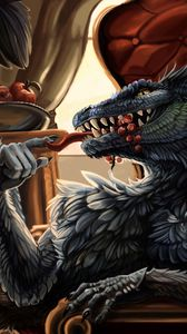 Preview wallpaper dragon, feathers, being, meal