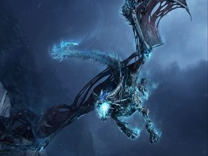 Preview wallpaper dragon, fly, jaws, rocks, night
