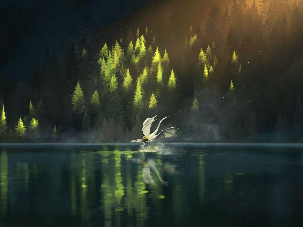 1024x768 Wallpaper dragon, friends, fantasy, art