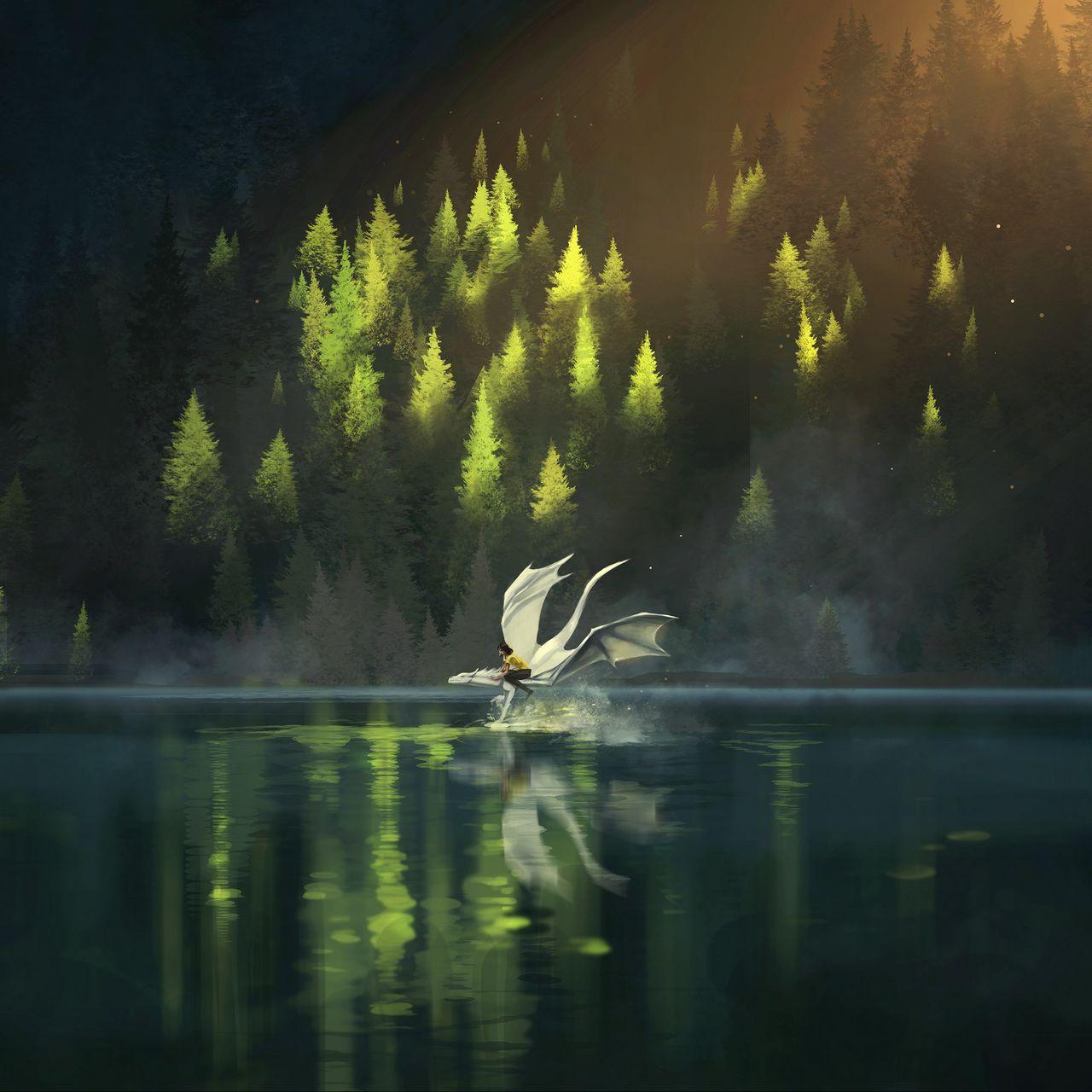 1280x1280 Wallpaper dragon, friends, fantasy, art