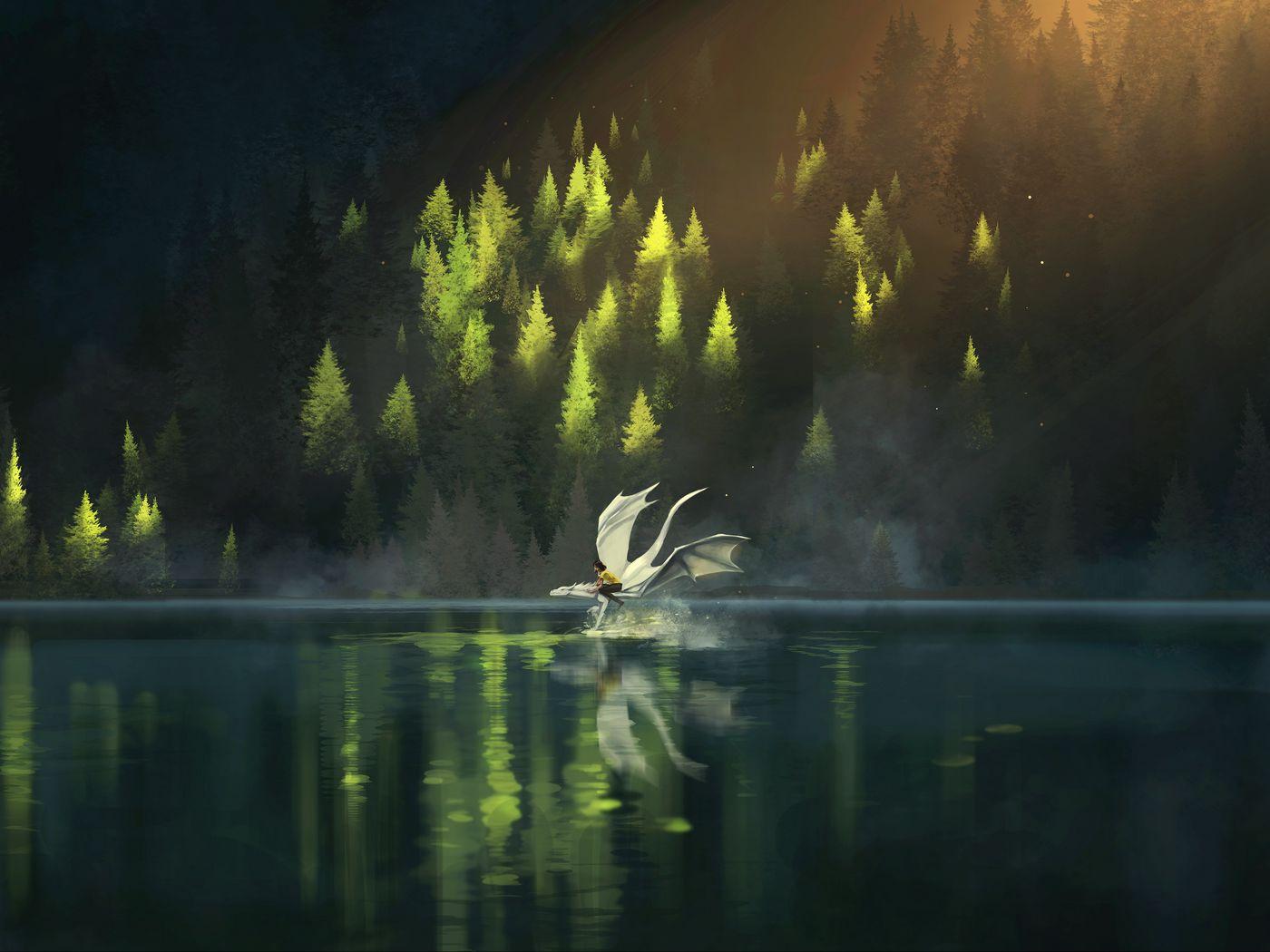 1400x1050 Wallpaper dragon, friends, fantasy, art