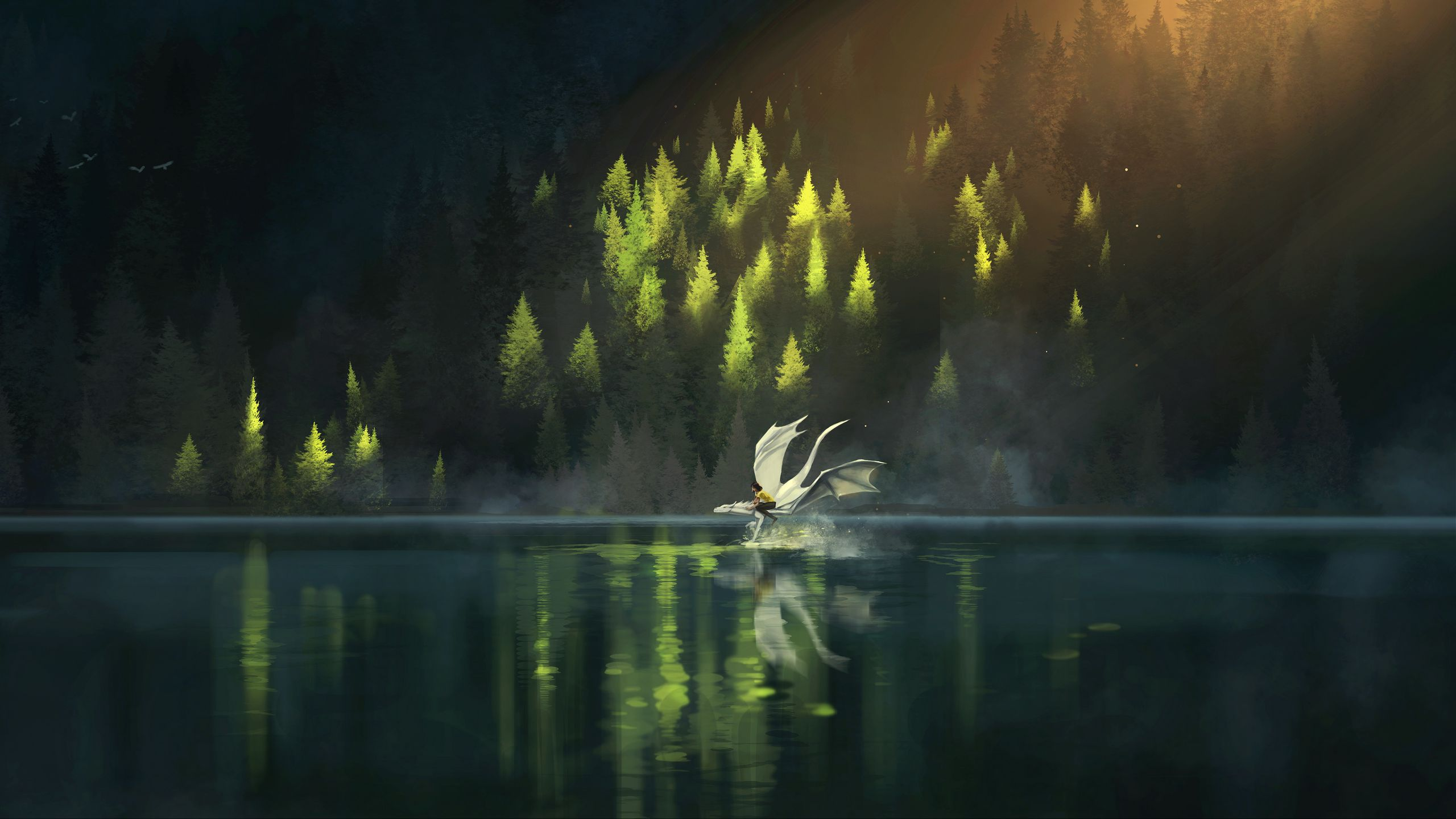 2560x1440 Wallpaper dragon, friends, fantasy, art