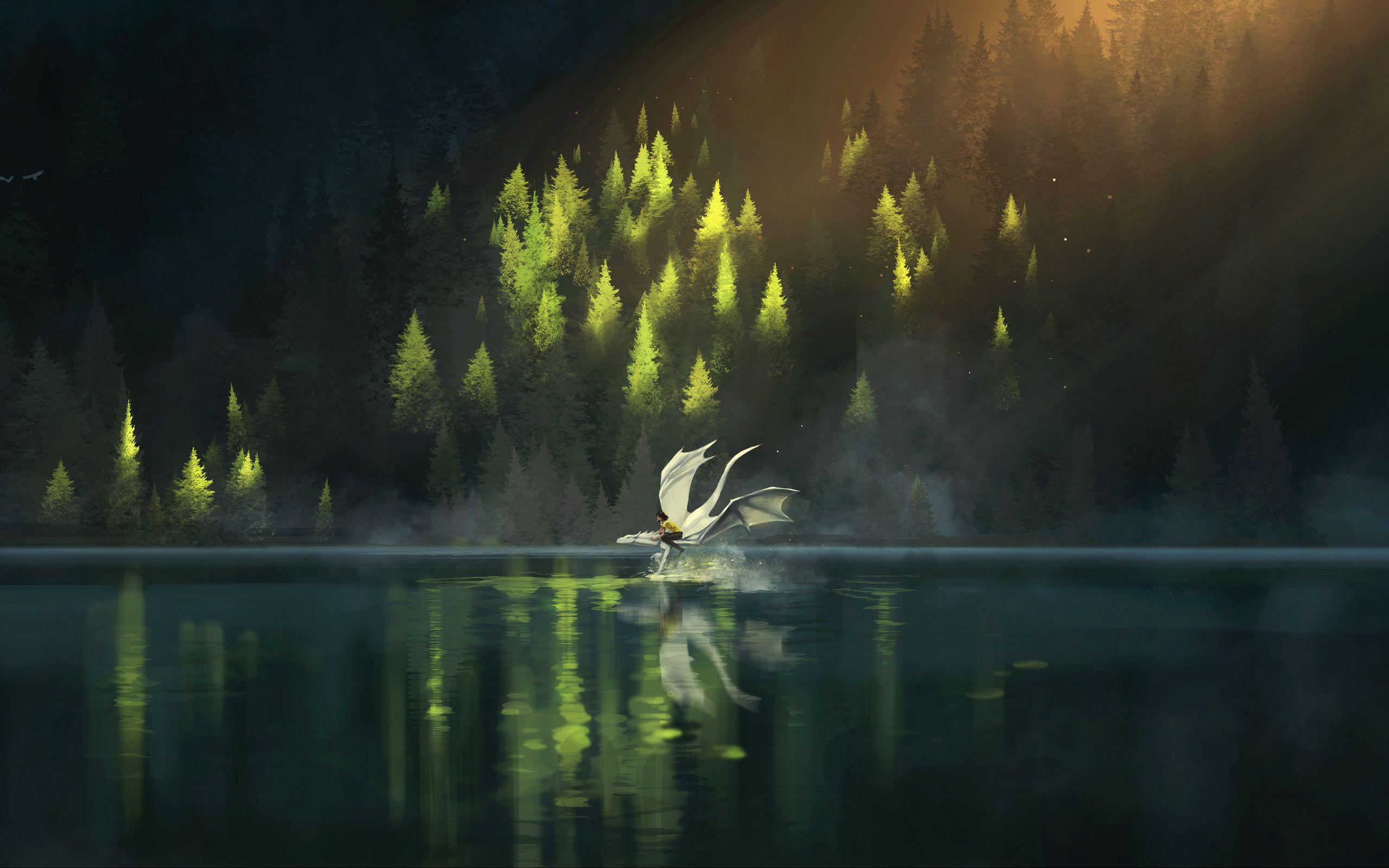 2560x1600 Wallpaper dragon, friends, fantasy, art