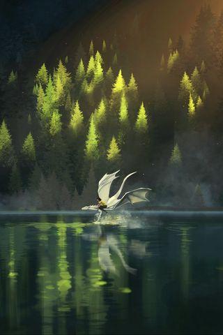 320x480 Wallpaper dragon, friends, fantasy, art