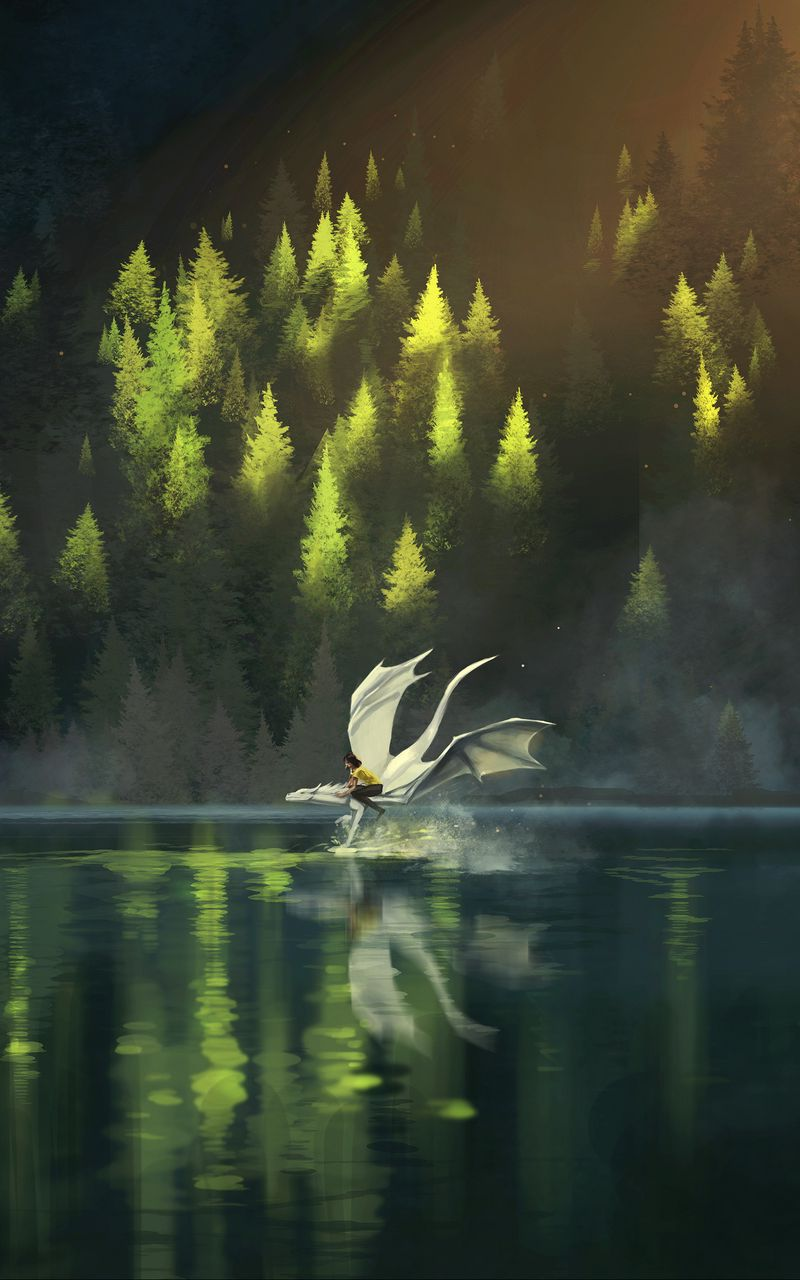 800x1280 Wallpaper dragon, friends, fantasy, art