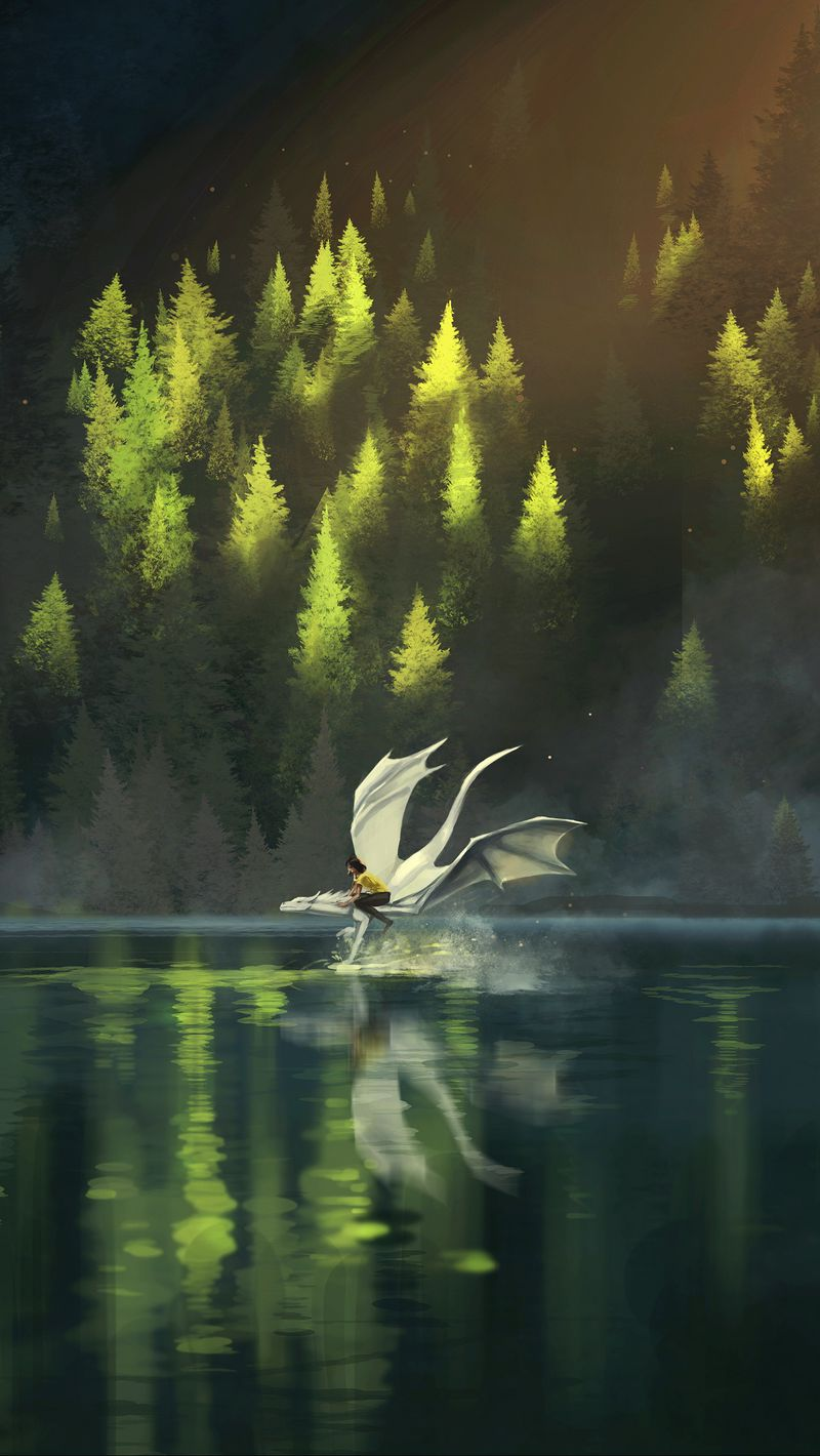 800x1420 Wallpaper dragon, friends, fantasy, art