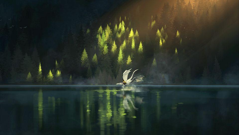 960x544 Wallpaper dragon, friends, fantasy, art