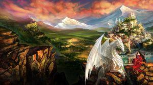 Preview wallpaper dragon, girl, elf, friendship, mountains, castle