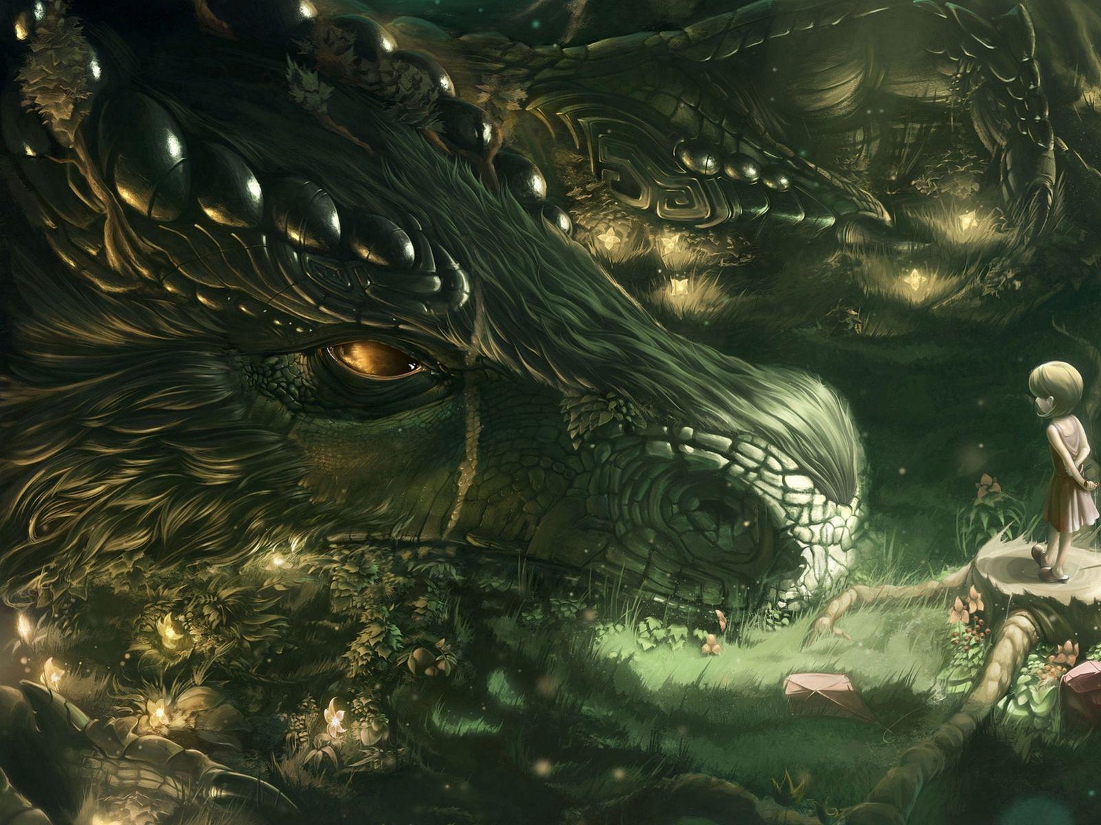 1600x1200 Wallpaper dragon, girl, forest, art