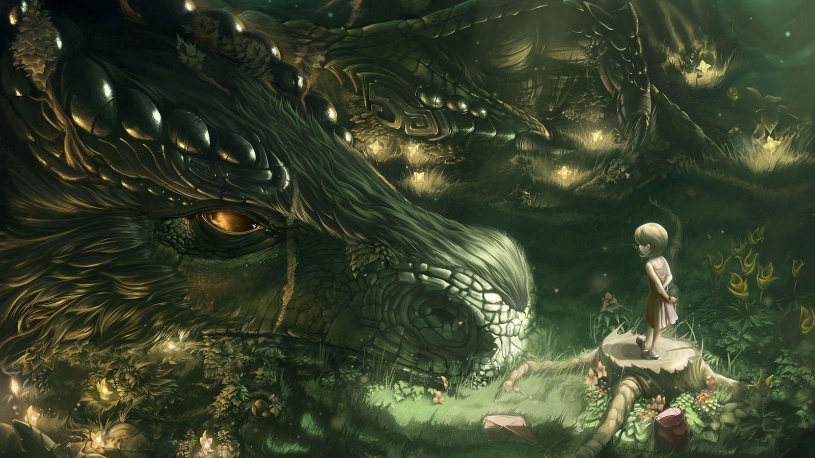 1600x900 Wallpaper dragon, girl, forest, art