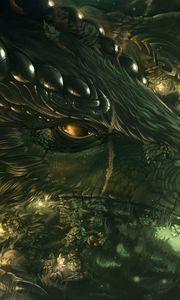 Preview wallpaper dragon, girl, forest, art