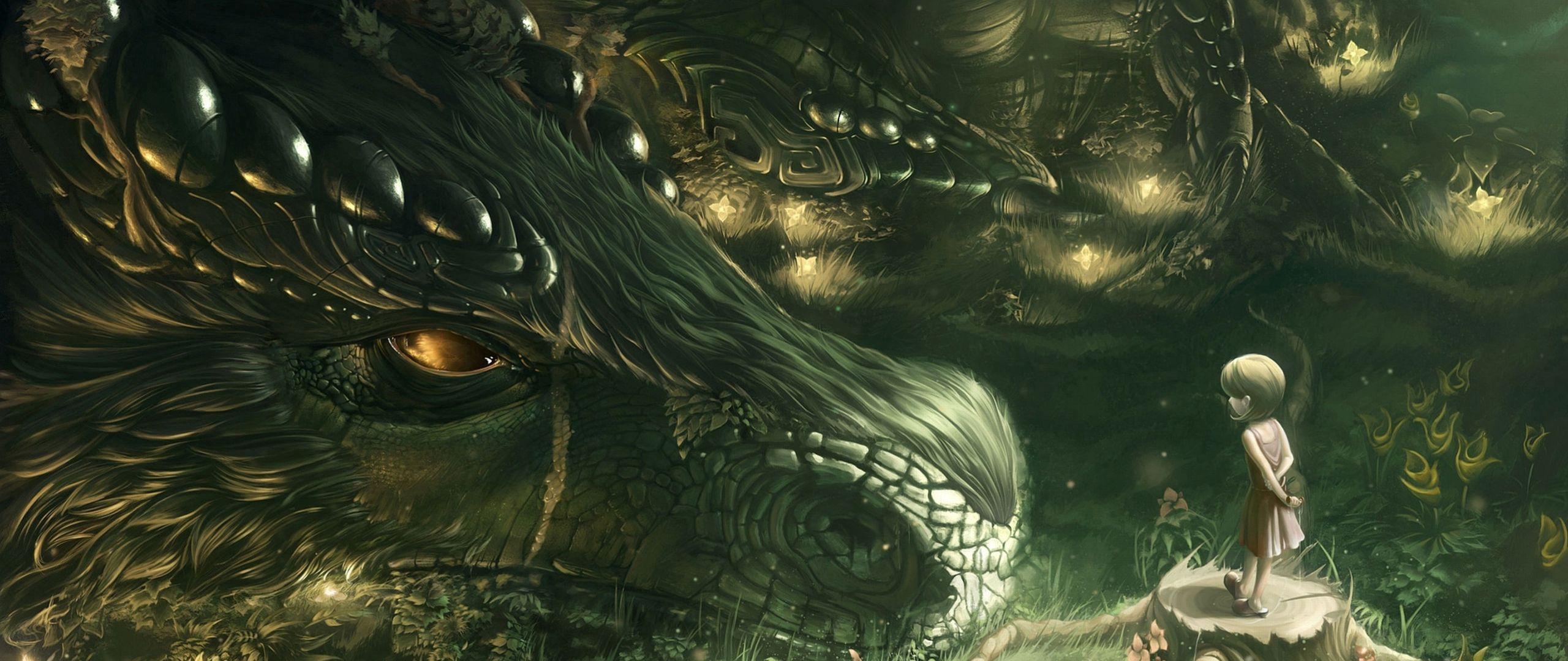 2560x1080 Wallpaper dragon, girl, forest, art