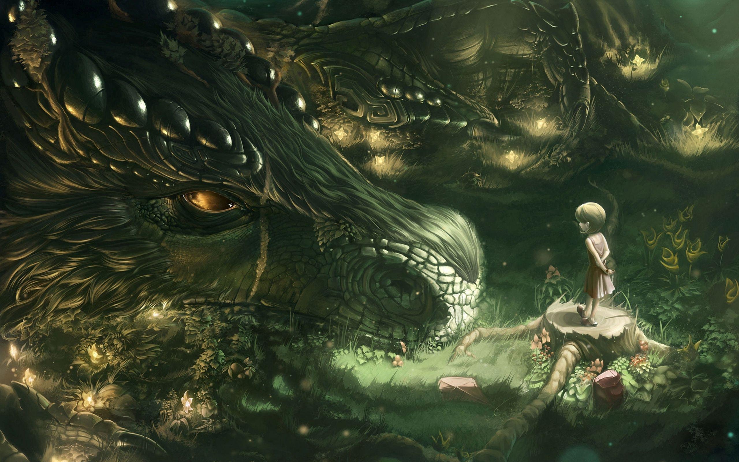 2560x1600 Wallpaper dragon, girl, forest, art