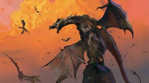 Preview wallpaper dragon, grin, hill, wings, battle