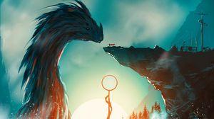Preview wallpaper dragon, knight, sword, fantasy, art