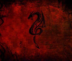 Preview wallpaper dragon, pattern, red, black