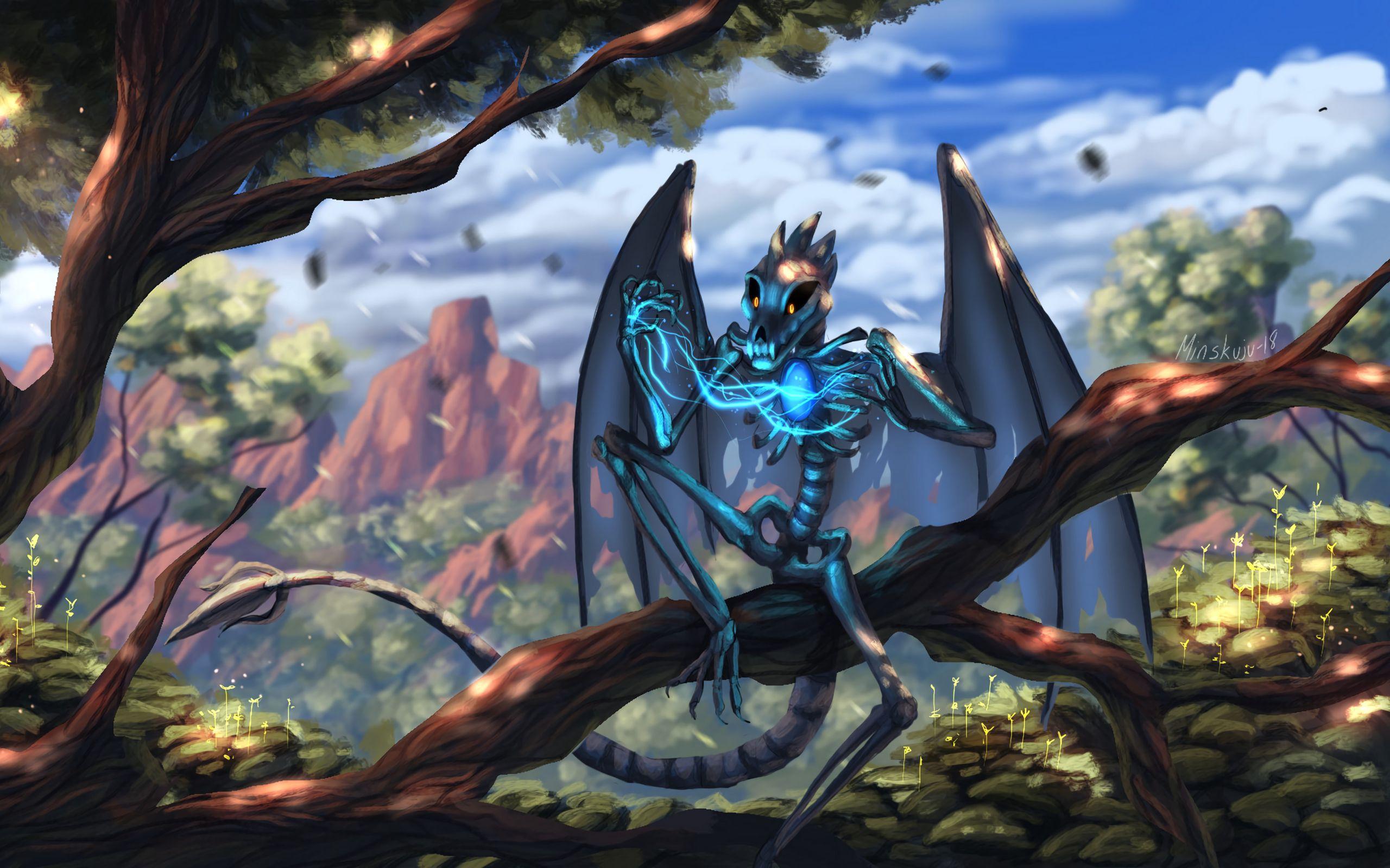 2560x1600 Wallpaper dragon, skeleton, wings, creature, magical, fabulous