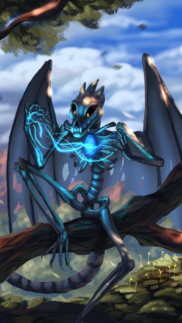360x640 Wallpaper dragon, skeleton, wings, creature, magical, fabulous